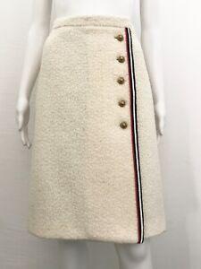 GUCCI Damen Luxus Wickelrock Wrap Tweed Skirt Logo Strips IT 42 DE 36 / 38 Neu