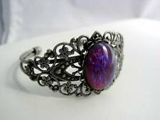 Dragon's Breath Glass Fire Opal Filigree Cuff Bracelet Antique Silver Platinum