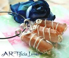 Handmade Golden Healer Calcite Crystal Necklace Silver Plated Gemstone Jewellery