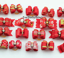 10 Dif Red handmade Yorkie Dog Pet Puppy Bows Shihtzu Maltese Poodle Biewer