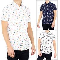 Brave Soul Mens Lagos Designer Cotton Short Sleeved Casual Summer Printed Shirt