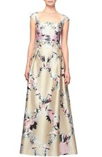 NWT Kay Unger Luminous Painterly Floral Print Square Neck Ball Gown Dress 14
