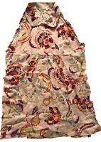 BN WHITE STUFF COTTON LADIES ORANGE FLORAL PRINT BLOUSE TOP SHIRT SIZE 8 £12.99