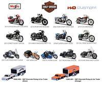 Maisto 1:12 - 1:18 - 1:64 Harley Davidson Motorcycles HD Custom Diecast Car Bike
