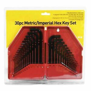 30 Piece Metric & Imperial Hex Allen Key Long Set Kit Allan Alan