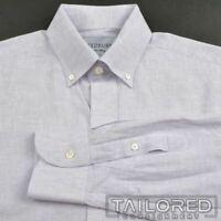 LEDBURY Solid Purple LINE COTTON Casual Classic Fit Dress Shirt - MEDIUM