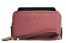NWT COACH MADISON LEATHER DOUBLE ZIP PHONE WRISTLET Light Gold Rouge F69382