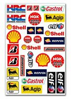 Set 31 PVC Vinyle Autocollants Agip Elf Shell Castrol Stickers Voiture Auto Moto