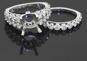18K white gold 1.70CT VS diamond semi-mount bridal ring set size 5