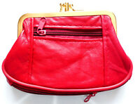 Ladies Large Snap Clip Top Black Leather Coin Purse With Zipped Sections