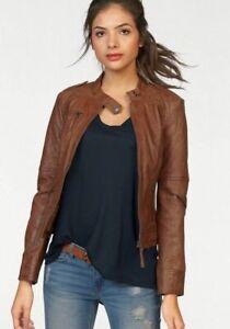 NEW AJC lambskin leather biker moto jacket brown UK 14 Eur40 Lederjacke RRP €229
