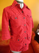 SMALL True Vtg 70s HIPPY BOHO RED/BLACK CHECKER FLANNEL SS  Womens SHIRT TOP