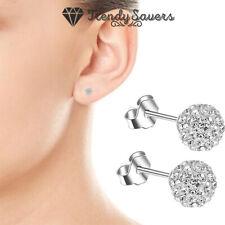 Cute Surgical Steel Shambala Crystal Ball Stud Earrings For Women Wedding Silver