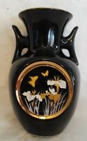 "The ART of Chokin Black Vase w/Butterflies & Flowers -  24 K Gold Trim - 5"" tall"