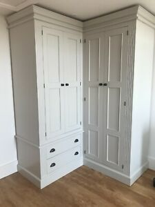 Painted corner fluted style full hanging wardrobe with 4 doors and 2 drawers