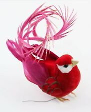 Red Pink Feather Bird Curled Tail Christmas Ornament Holiday Decoration
