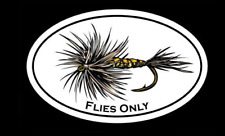 """""""Flies Only"""" Fly Fishing Decal - Dry Fly Trout Sticker"""