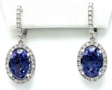 4 CT Oval Blue Sapphire & Diamond Halo Drop Dangle Earrings 14K White Gold Over