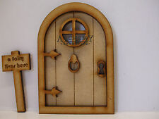 Wooden Fairy Door - 'Fairy Castle' Fairy Door Kit with Fairy Window & Fairy Sign
