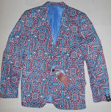 Suslo Couture Christmas Candy Cane Blazer Sport Coat Ugly Sweater M 40 slim Mens