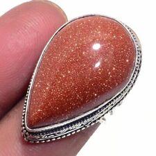 Goldstone Ethnic Jewelry Handmade Antique Design Ring Size-6.75 BR-956