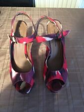 Dorothy Perkins Multicoloured Heeled Peep Toe Shoes Size 6 Festival Red Mix