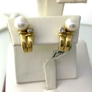 Natural Akoya Pearl & Diamonds Earrings in 18k Solid Yellow Gold  #lot1500