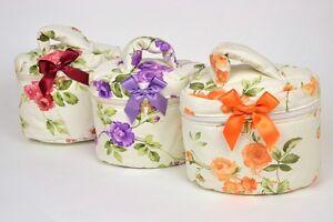 Beauty case ovale con cerniera, porta trucco da viaggio 100%cotone Made in Italy