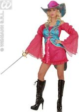 Ladies Deluxe Pink Gothic Pirate Madame Musketeer Fancy Dress Size 10-14