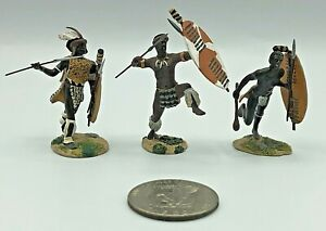 (3) Pc 2008 Britains WBZW Zulu Warriors Lead Metal 54mm Miniature Toy Soldiers