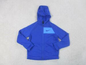 Nike Sweater Youth Small Blue Swoosh Hooded Hoodie DriFit Full Zip Kids Boys B3