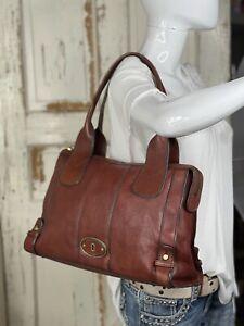 FOSSIL Vintage Reissue Whiskey Brown Leather Satchel Shoulder Handbag Medium-Lrg