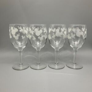 """Disney Wine Glasses Mickey Mouse head ears frosted set 4 clear 7"""""""