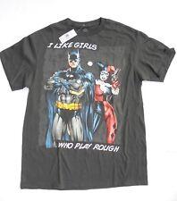 DC Comics Batman I LIKE GIRLS WHO PLAY ROUGH mens graphic t-shirt black sz M NEW