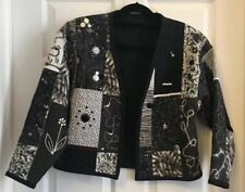 Hand Made Boho Hippie Quilted Jacket Black & White Fiber Art