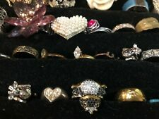 Lot,Faux/Diamond,Emerald, Turquoise,Gold Plated,Silver,35 Pc Vintage To Now Rings