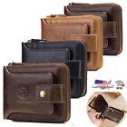 Mens Wallet Genuine Leather Zip Around RFID Bifold Zipper Popular ID Card Holder