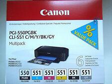 CANON CLI-551 BK/C/M/Y/GY + PGI-550PGBK PIXMA MG6350 MG7150 MG7550, 6 Patronen