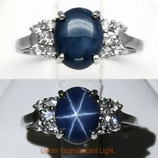 9x7mm Natural 6 Ray Blue Star-Sapphire Ring With Topaz in 925 Sterling Silver