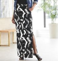 Ashro Black White Everly Side Slit Maxi Skirt Size 2X 20W 22W 3X 24W 26W PLUS