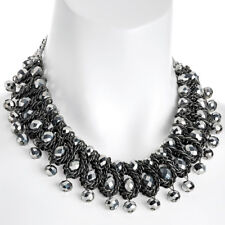 Modeschmuck Hämatit gewebt Glas Kristall Lagenlook Statement Halsband Halskette