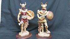 "Pair of 15 1/2"" Viking Statues Depose Italy #215 #216"