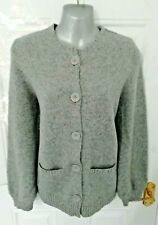 ❤ KEW Size 12 (L) Grey Marl Button Up Cardigan Lambswool Cashmere Blend Pockets