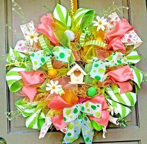 "Handmade 24"" Spring Summer Deco Mesh Easter Wreath Coral & Green Door Decor"