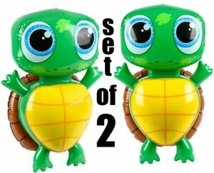 """(Set of 2) 24"""" Turtles Brown / Yellow Shell Inflatable Inflate Party Decoration"""