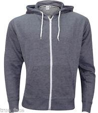 Plain Mens American Fleece Zip up Hoody Jacket Sweatshirt Hooded ZIPPER Top L Hoodie - Charcoal