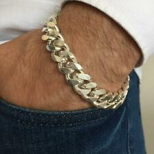 NEW Mens Cuban Link Chain Bracelet 13mm 51GR 8.26Inch SOLID 925 Sterling Silver