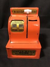 Vintage Uncle Sam's 3 Coin Cash Register Bank Metal Orange EXCELLENT USA