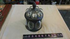 Vintage Ornate Humidor/Tobacco Jar, Brass & Bubble Glass w/ Lid--chip inside