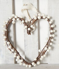 Shabby Chic Cream Berry Heart Wreath Decoration Wedding Christmas Handmade 30cm
